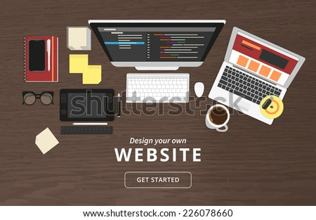 Realistic workplace organization. Top view with textured table, computer, laptop, smartphone, graphic tablet, stickers, glasses, cd disk, diary and coffee mug - stock vector