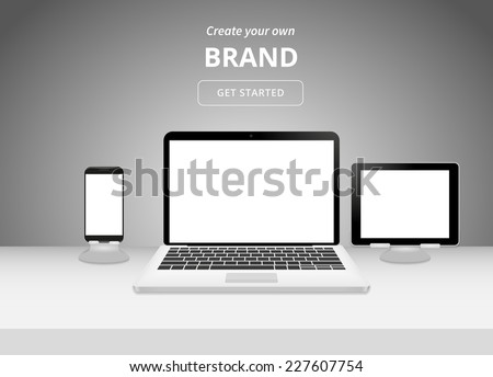 Realistic workplace template. Front view with white table, laptop, smartphone and tablet pc - stock vector