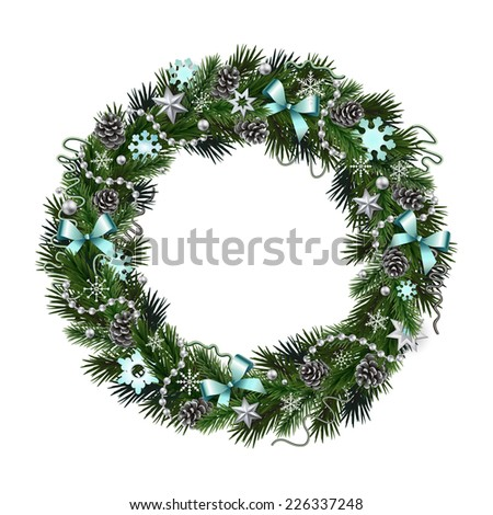 Realistic wreath of fir branches isolated on white background. Christmas and New Year design elements: snowflakes, branches, pine cones, ribbons, stars, garlands, beads - stock vector