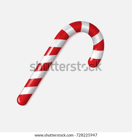 Realistic Xmas candy cane isolated