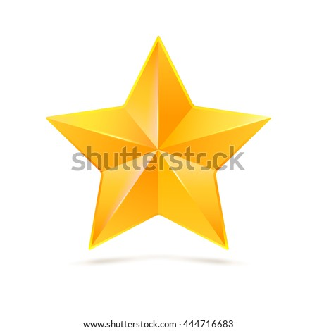 Realistic yellow five-pointed star. Symbol of victory in competitions or contests, template for your design. Illustration on white background.