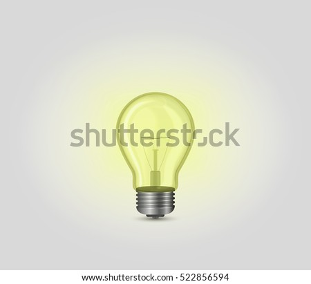 Realistic yellow incandescent light bulb, lamp