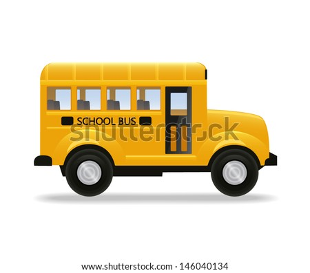 Realistic yellow school bus isolated on white background. Vector illustration. - stock vector
