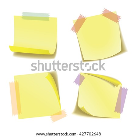 Realistic yellow sticker with adhesive tape. Set of four yellow stickers. Eps 10 vector file.