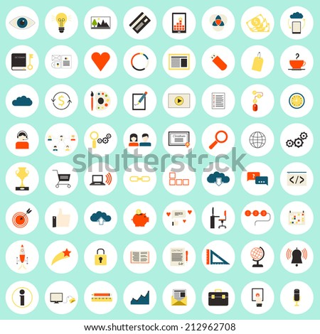 Really big set of 64 modern flat icons on SEO and internet usage. Search optimization, keywording, data visualization, interface planning, social networking  teamwork symbols.  - stock vector