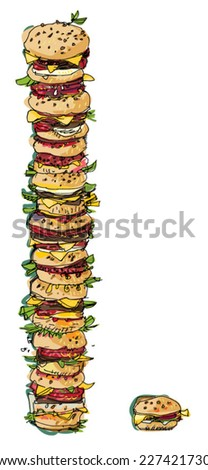 really huge pile of hamburgers - humorous allegory - cartoon - stock vector