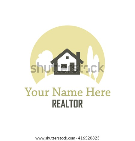 Realtor logo concept of a house sitting on a hill with trees reversed out of a circular, sun shape. Below it are places to put your name and business designation.