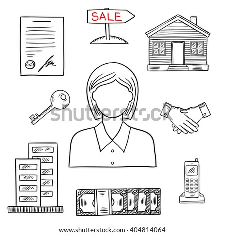 Realtor profession icon for real estate and business design usage with female agent, apartment house, wooden home, key, money, contract, handshake, telephone and sale poster. Sketch style - stock vector