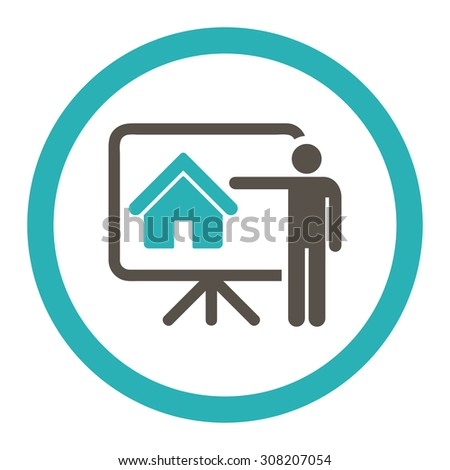 Realtor vector icon. This rounded flat symbol is drawn with grey and cyan colors on a white background. - stock vector