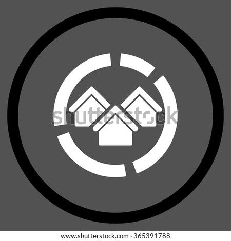 Realty Diagram vector icon. Style is bicolor flat circled symbol, black and white colors, rounded angles, gray background. - stock vector