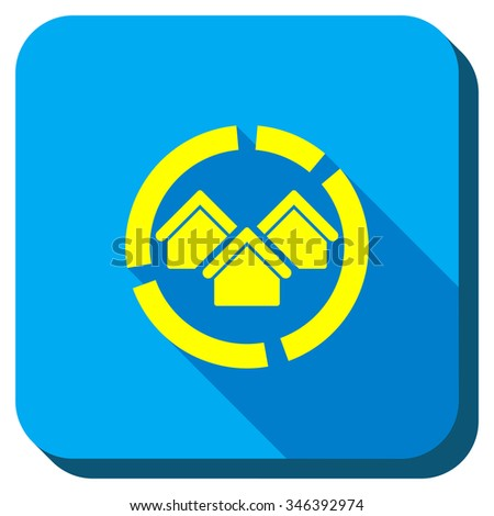 Realty Diagram vector icon. Style is square rounded button, vector symbol with longshadow, white background. - stock vector