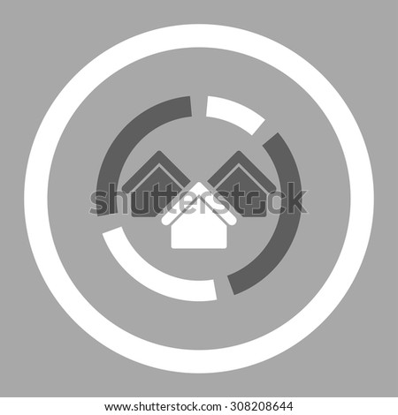 Realty diagram vector icon. This rounded flat symbol is drawn with dark gray and white colors on a silver background. - stock vector