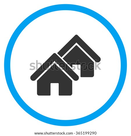 Realty vector icon. Style is bicolor flat circled symbol, blue and gray colors, rounded angles, white background. - stock vector