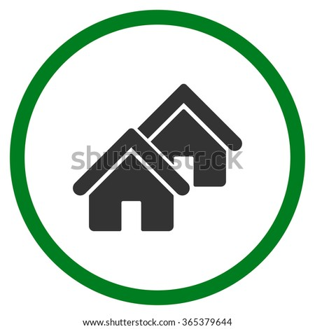 Realty vector icon. Style is bicolor flat circled symbol, green and gray colors, rounded angles, white background. - stock vector