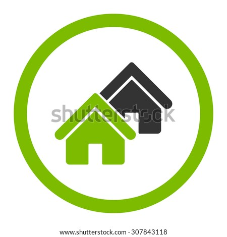 Realty vector icon. This rounded flat symbol is drawn with eco green and gray colors on a white background. - stock vector