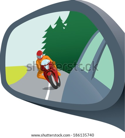 Rear view mirror with motorcycle appearing trying to pass; dangerous driving; awareness on road; isolated vector illustration - stock vector