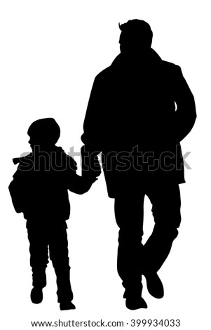 rear view of father and son holding hands while walking on the street young father