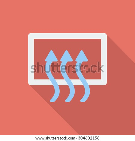 Rear window defrost icon. Flat vector related icon with long shadow for web and mobile applications. It can be used as - logo, pictogram, icon, infographic element. Vector Illustration.  - stock vector