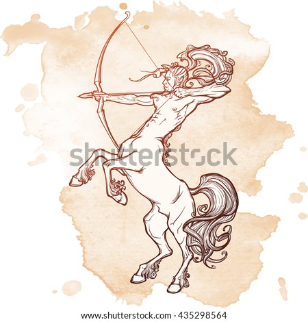 Rearing Centaur holding bow and arrow. Boho style look. Vintage style illustration. Vintage tattoo design. EPS10 vector illustration