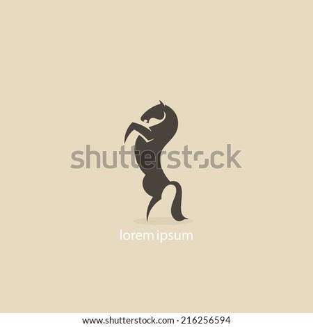 Rearing horse icon - vector illustration - stock vector