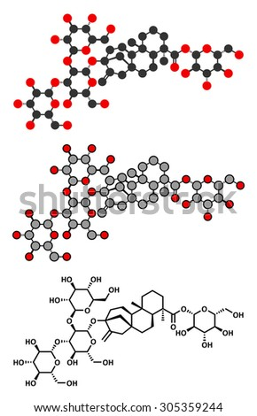 Rebaudioside A molecule. One of the main steviol glycosides found in stevia plants, used as sweetener. Stylized 2D renderings and conventional skeletal formula. - stock vector