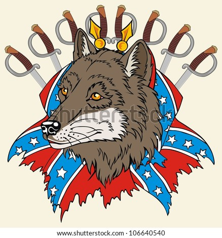 rebel flag and the wolf head - stock vector