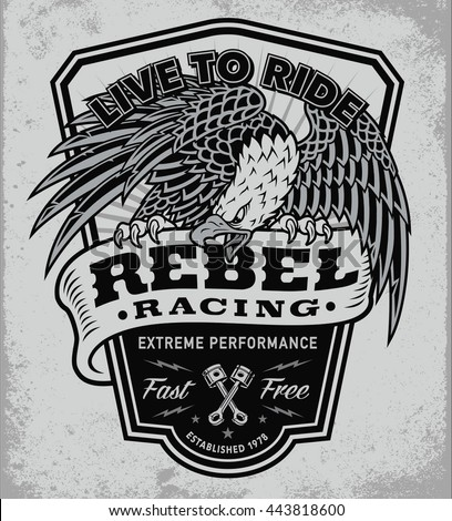 Rebel racing eagle crest shield t-shirt graphic - stock vector