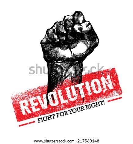Rebel Strike Hand Grunge Vector Poster Concept  - stock vector
