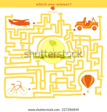 Rebus vector. Funny labyrinth with bike car plane balloon. Find out which one winner. Cartoon puzzle. - stock vector