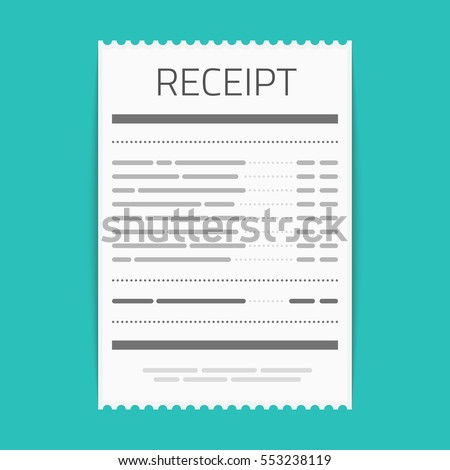 receipt icon flat style isolated on stock vector royalty free