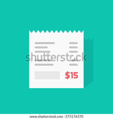 Receipt vector icon, invoice flat illustration, cheque shadow, bill with total cost amount and dollar symbol, abstract text, receipt paper isolated on green  - stock vector