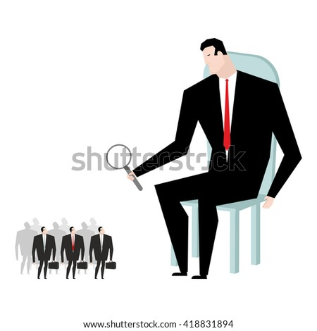 Receiver selection. Boss looks under magnifying glass manager heir. Elected businessman. Choose favorite of office clerks. Selection of Deputy - stock vector