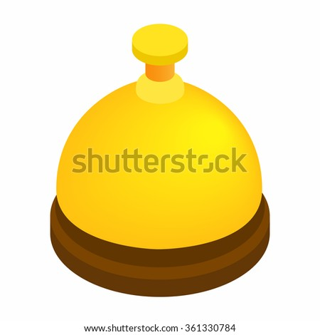 Reception bell isometric 3d icon isolated on white background - stock vector