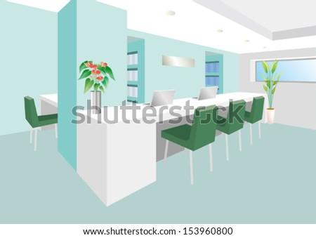 Receptionist room - stock vector