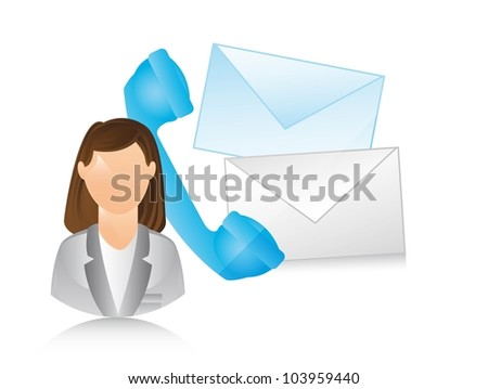receptionist with phone and envelope. vector illustration - stock vector