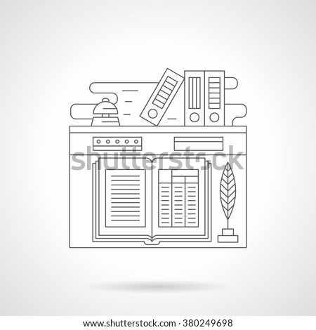 Receptionist workplace. Open guest book and feather-pen, bell and folders. Hotel services. Tourism and travel.  Single detailed flat line vector icon. Web design elements for business, site, mobile.  - stock vector