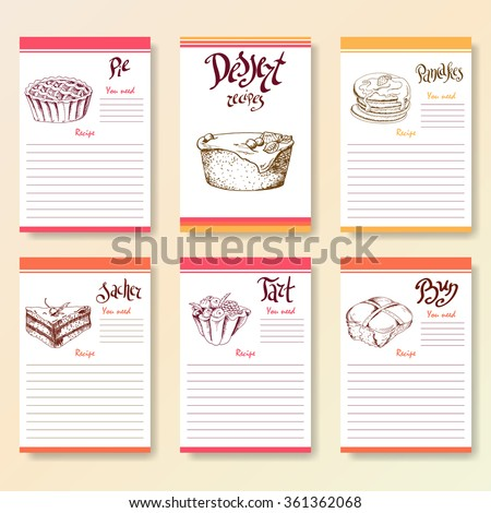 Recipe blanks collection. Dessert objects with hand dawn lettering. Vector food illustration - stock vector