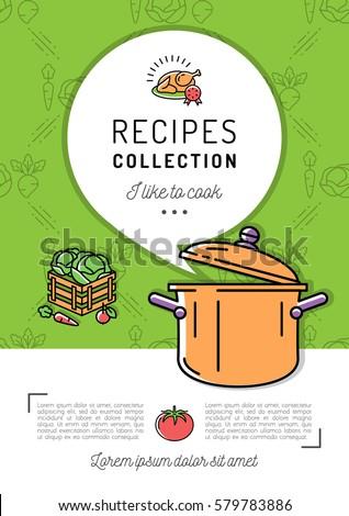Recipe Book Cover Menu Cookbook A4 Size Boiling Pot Steam Icon Speech Bubble