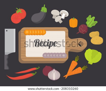 Recipe card culinary template food icons stock vector 208310260 recipe card culinary template with food icons and kitchen elements flat design vector forumfinder Choice Image