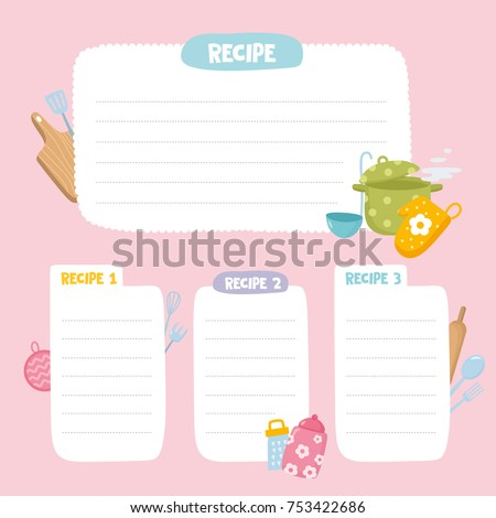 Recipe cards set cooking card template stock vector 753422686 recipe cards set cooking card template culinary notes or sticker with cute kitchen utensils pronofoot35fo Choice Image