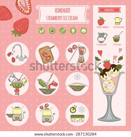 Recipe homemade strawberry ice cream. Beautiful hand drawn illustration of ingredients and cooking. - stock vector