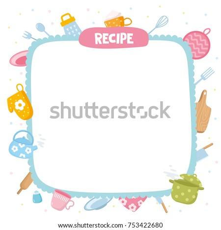 Recipe Template Creative Frame Kitchen Utensils Stock Photo (Photo ...