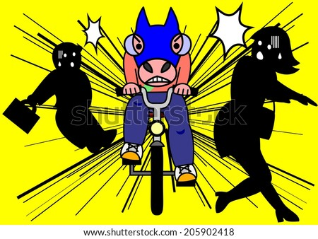 reckless bike riding - stock vector