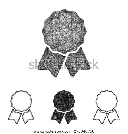 Recognition icon design set - sketch line art - stock vector