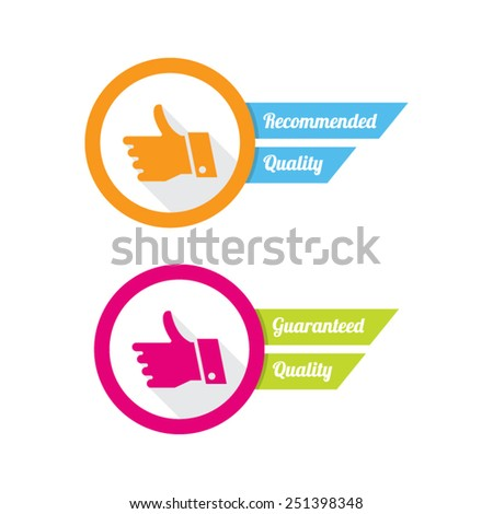 Recommended and Guaranteed Quality Labels - stock vector
