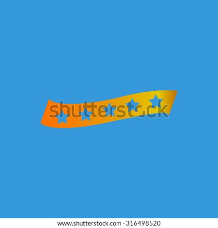 Recommended bestseller star ribbon. Orange vector icon isolated on blue background. Illustration trend symbol - stock vector