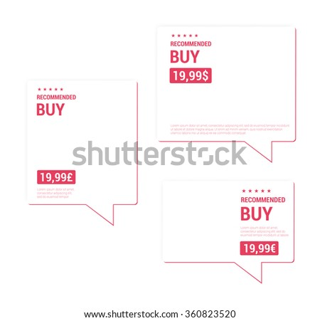 Recommended Buy Price Tags - stock vector