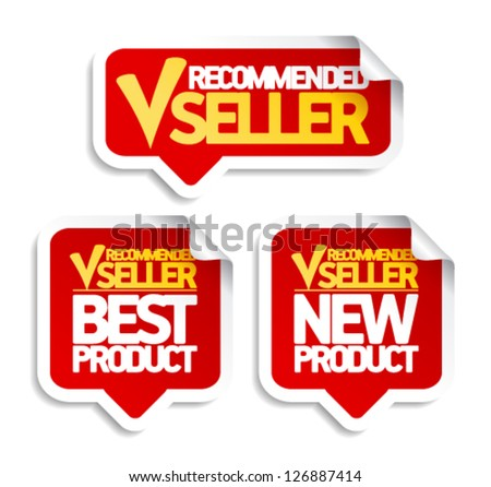 Recommended seller speech bubbles set. - stock vector