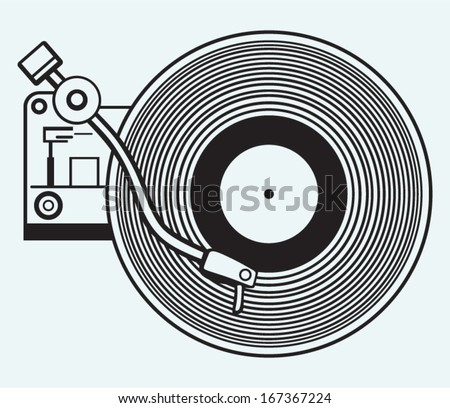 Record player vinyl record isolated on blue background - stock vector