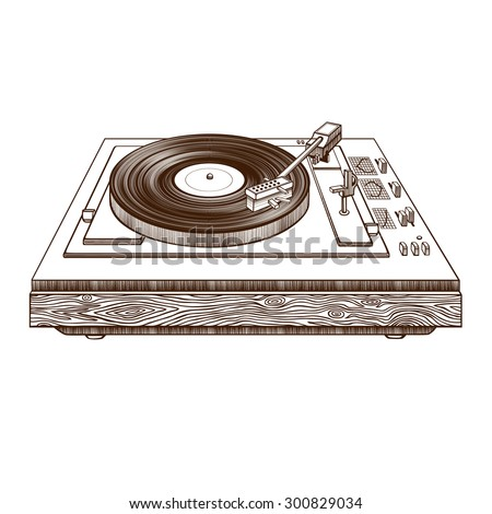Record player vinyl record. Record player isolated on white background.